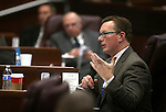 Nevada Sen. Ben Kieckhefer, R-Reno, asks questions during a Senate Committee of the Whole hearing at the Legislative Building in Carson City, Nev., on Thursday, Dec. 17, 2015. Lawmakers continue to hear details of a bill that would give Faraday Future hundreds of millions of dollars in tax credits and abatements. Cathleen Allison/Las Vegas Review-Journal