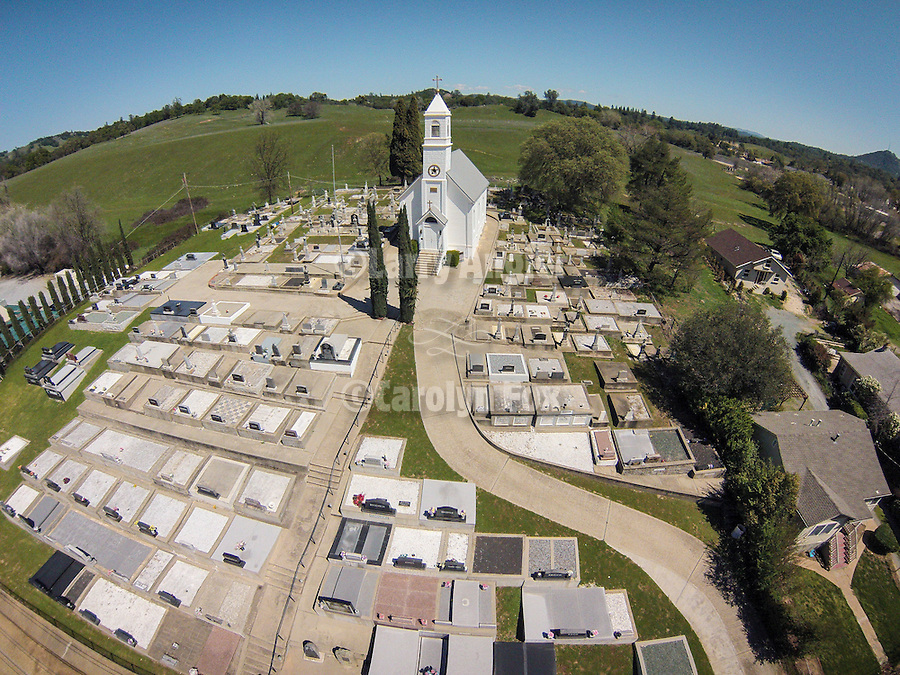 St. Sava Church church and cemetery aerials from the sUAV drone quadcopter, during spring, Jackson, Calif.