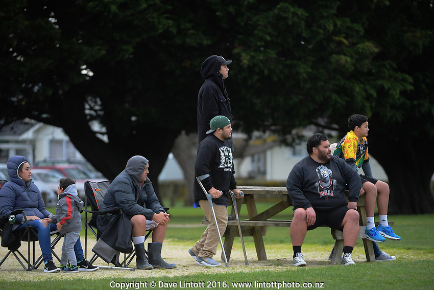 Fans watch the Horowhenua-Kapiti premier club rugby union match between Toa and Waikanae at Te Atiawa Park, Paraparaumu Beach, New Zealand on Saturday, 18 June 2016. Photo: Dave Lintott / lintottphoto.co.nz