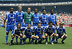 31 August 2004: Eastern Conference starters. Front row (l to r): Frankie Hejduk, Chris Armas, Dema Kovalenko, Jaime Moreno, Eddie Gaven. Back row (l to r): Eddie Pope, Jim Curtin, Henry Ring, Robin Fraser, Amado Guevara, Damani Ralph. The MLS Eastern Conference All Stars defeated the MLS Western Conference All Stars 3-2 at RFK Stadium in Washington, DC in the Major League Soccer Sierra Mist All-Star Game..