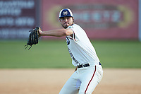 High Point-Thomasville HiToms relief pitcher Josh Nifong (33) (Duke) in action against the Martinsville Mustangs at Finch Field on July 26, 2020 in Thomasville, NC.  The HiToms defeated the Mustangs 8-5. (Brian Westerholt/Four Seam Images)