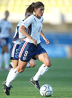 23 August 2004:  Mia Hamm in action against Germany during the semifinal game at Pankritio Stadium in Heraklio, Greece.     USA defeated Germany, 2-1 in overtime.   Credit: Michael Pimentel / ISI