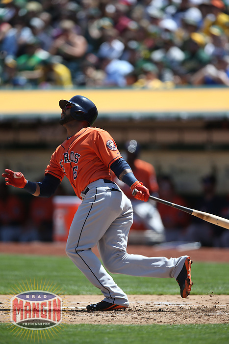 OAKLAND, CA - APRIL 19:  Jonathan Villar #6 of the Houston Astros bats against the Oakland Athletics during the game at O.co Coliseum on Saturday, April 19, 2014 in Oakland, California. Photo by Brad Mangin