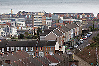 General view of the Mount Pleasant area and the town centre in the background in Swansea, Wales, UK. Wednesday 30 January 2019