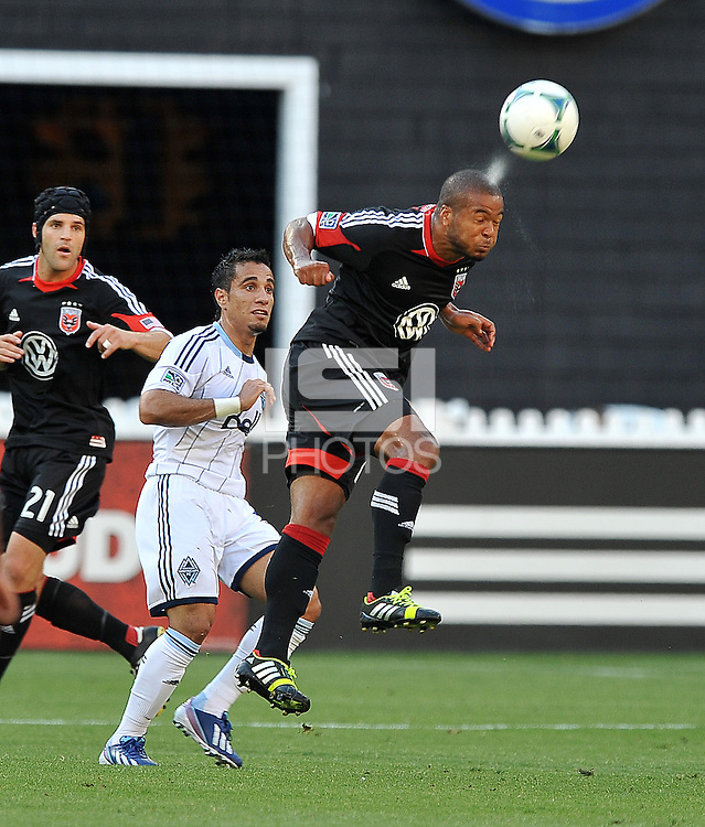 Ethan White (15) of D.C. United head the ball. The Vancouver Whitecaps FC defeated D.C. United 1-0, at RFK Stadium, Saturday June 29 , 2013.