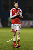Cian Bolger of Fleetwood Town applauds the travelling fans afterthe Sky Bet League 1 match between Gillingham and Fleetwood Town at the MEMS Priestfield Stadium, Gillingham, England on 27 January 2018. Photo by David Horn.