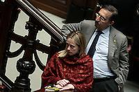 Giorgia Meloni e Ignazio La Russa<br /> Roma 25-02-2014 Camera. Voto di fiducia al nuovo Governo.<br /> Senate. Trust vote for the new Government.<br /> Photo Samantha Zucchi Insidefoto