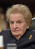"Dr. Madeleine K. Albright, Chair, National Democratic Institute and former United States Secretary of State (under President Bill Clinton) gives testimony before the United States Senate Committee on Armed Services concerning ""Global Challenges and the U.S. National Security Strategy"" in Washington, D.C. on Thursday, January 29, 2015.<br /> Credit: Ron Sachs / CNP"