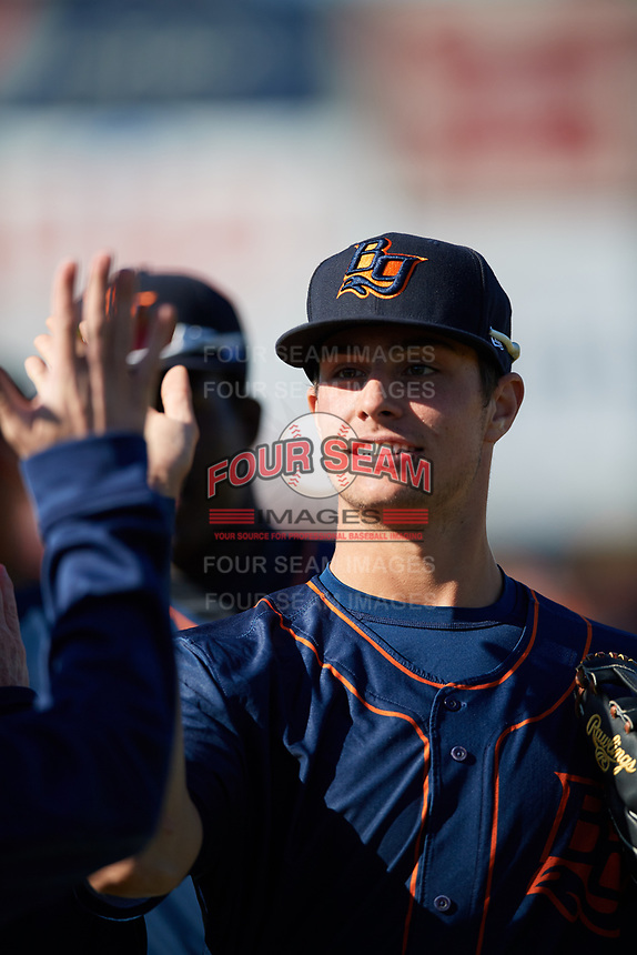 Bowling Green Hot Rods center fielder Josh Lowe (18) celebrates with his teammates after a game against the Beloit Snappers on May 7, 2017 at Pohlman Field in Beloit, Wisconsin.  Bowling Green defeated Beloit 6-2.  (Mike Janes/Four Seam Images)