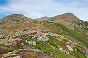Mount Monroe with Mount Washington in the background from the Appalachian Trail (Crawford Path) in the White Mountains, New Hampshire during the last days of summer.