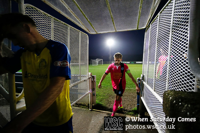Pickering players leave the field at full time. Stocksbridge Park Steels v Pickering Town,  Evo-Stik East Division, 17th November 2018. Stocksbridge Park Steels were born from the works team of the local British Steel plant that dominates the town north of Sheffield.<br />