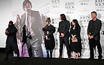 """Singer Kyary Pamyu Pamyu (2L), actor Keanu Reeves (3L) and director Chad Stahelski (R) watch a ninja during a stage greeting for the movie """"John Wick: Chapter 3 - Parabellum"""" in Tokyo, Japan, September 10, 2019. The movie will be released in Japan on October 4. JIJI PRESS PHOTO / MORIO TAGA"""