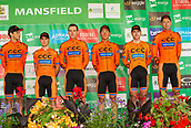 6th September 2017, Mansfield, England; OVO Energy Tour of Britain Cycling; Stage 4, Mansfield to Newark-On-Trent;  CCC Sprandi-Polkowice team pose for photos after registration sign-in at Mansfield
