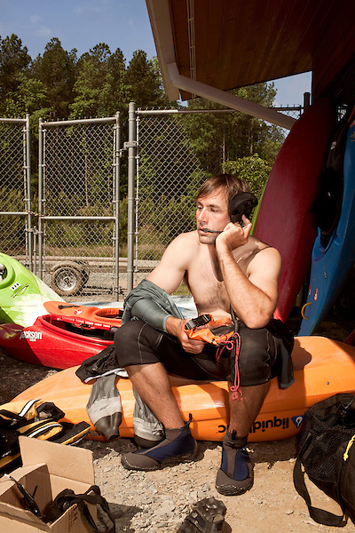 April 30, 2012. Charlotte, NC.. Erik Weihenmayer tests the radios that will required for him to make the kayaking runs. Without working radios, it will be impossible for hime to communicate with his guides on the river.. Erik Weihenmayer, who has been completely blind since age 13, is training at the United States National White Water Center in an attempt to kayak through the Grand Canyon. Weihenmayer is an accomplished outdoorsman who has climbed the 7 Summits, and is the only blind person to climb Mount Everest.