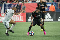 FOXBOROUGH, MA - AUGUST 4: Latif Blessing #7 of Los Angeles FC dribbles away from Andrew Farrell #2 of New England Revolution during a game between Los Angeles FC and New England Revolution at Gillette Stadium on August 3, 2019 in Foxborough, Massachusetts.