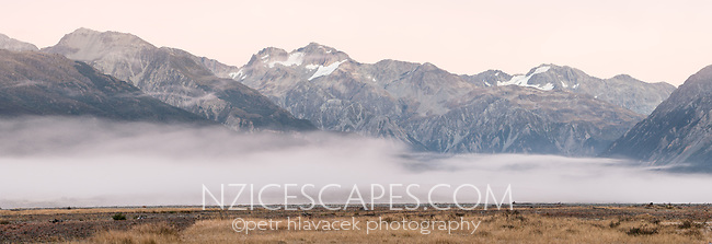 Dawn over Southern Alps, Arthur's Pass National Park, Canterbury, South Island, New Zealand, NZ