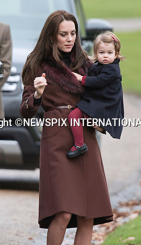 25.12.2016; Englefield, UK: PRINCE GEORGE AND PRINCESS CHARLOTTE - 1ST XMAS SERVICE<br />The Duke and Duchess of Cambridge took Prince George and Princess Charlotte to their first Christmas Day church service at St Mark&rsquo;s Church, Englefield. <br />While the rest of the royals attended church service at Sandringham.<br />Mandatory Photo Credit: &copy;Francis Dias/NEWSPIX INTERNATIONAL<br /><br />IMMEDIATE CONFIRMATION OF USAGE REQUIRED:<br />Newspix International, 31 Chinnery Hill, Bishop's Stortford, ENGLAND CM23 3PS<br />Tel:+441279 324672  ; Fax: +441279656877<br />Mobile:  07775681153<br />e-mail: info@newspixinternational.co.uk<br />Usage Implies Acceptance of OUr Terms &amp; Conditions<br />Please refer to usage terms. All Fees Payable To Newspix International