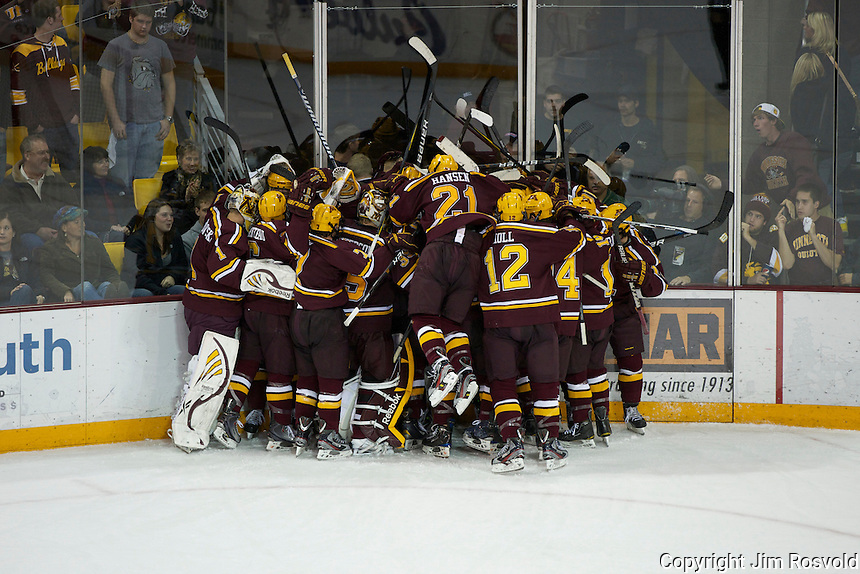 14 Oct 11: Minnesota overtime jubo. The University of Minnesota-Duluth Bulldogs host the University of Minnesota Golden Gophers in a WCHA matchup at Amsoil Arena in Duluth, MN.