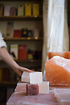 The Meadow, Portland, OR Heavy slabs and chunks of Himalayan Salt at The Meadow, a salt, chocolate, wine and flower shop in the North Mississippi neighborhood of Portland, OR.  The Pink salt blocks can be heated cooled or left at room temperature and can be used for grilling.
