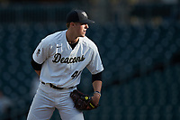 Wake Forest Demon Deacons relief pitcher Cole McNamee (40) looks to his catcher for the sign against the Furman Paladins at BB&T BallPark on March 2, 2019 in Charlotte, North Carolina. The Demon Deacons defeated the Paladins 13-7. (Brian Westerholt/Four Seam Images)