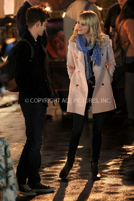 WWW.ACEPIXS.COM . . . . . .April 16, 2013...New York City....Andrew Garfield and Emma Stone on the film set of 'The Amazing Spider Man 2 in Union Square on April 16, 2013 in New York City ....Please byline: KRISTIN CALLAHAN - ACEPIXS.COM.. . . . . . ..Ace Pictures, Inc: ..tel: (212) 243 8787 or (646) 769 0430..e-mail: info@acepixs.com..web: http://www.acepixs.com .