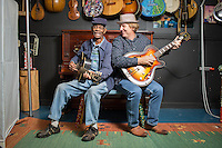 Legend John Dee Holeman and Music Maker Relief Foundation founder Tim Duffy in Hillsborough, North Carolina on Wednesday, September 24, 2014. (Justin Cook)