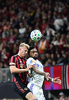 ATLANTA, GA - MARCH 07: ATLANTA, GA - MARCH 07: Atlanta United defender Laurence Wyke and Jurgen Locadia contest for a head ball during the match against FC Cincinnati, which Atlanta won, 2-1, in front of a crowd of 69,301 at Mercedes-Benz Stadium during a game between FC Cincinnati and Atlanta United FC at Mercedes-Benz Stadium on March 07, 2020 in Atlanta, Georgia.