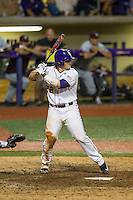 LSU Tigers catcher Kade Scivicque (22) at bat during a Southeastern Conference baseball game against the Texas A&M Aggies on April 23, 2015 at Alex Box Stadium in Baton Rouge, Louisiana. LSU defeated Texas A&M 4-3. (Andrew Woolley/Four Seam Images)