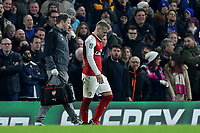 Arsenal captain, Jack Wilshere leaves the field with an injury during Chelsea vs Arsenal, Caraboa Cup Football at Stamford Bridge on 10th January 2018