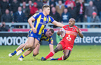Picture by Allan McKenzie/SWpix.com - 04/03/2017 - Rugby League - Betfred Super League - Salford Red Devils v Warrington Wolves - AJ Bell Stadium, Salford, England - Tom Lineham brings down Robert Lui.