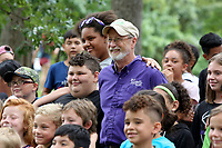 NWA Democrat-Gazette/DAVID GOTTSCHALK  Lioneld Jordan, mayor city of Fayetteville, poses Friday, July 14, 2017, with students from the LifeSource International Kids Life Camp at the 10th annual CDBG in the Park picnic at the Walker Park Pavilion in Fayetteville. The city's Community Development Block Grant held the picnic to share  information with  citizens about the programs that CDBG has to offer and to celebrate its investment in the community.  The event featured a free lunch, cold treats, family-friendly activities and information booths.
