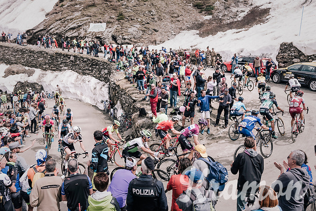 grupetto up the gravel roads of the Colle delle Finestre <br /> <br /> stage 19: Venaria Reale - Bardonecchia (184km)<br /> 101th Giro d'Italia 2018