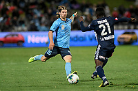 17th November 2019; Jubilee Oval, Sydney, New South Wales, Australia; A League Football, Sydney Football Club versus Melbourne Victory; Luke Brattan of Sydney and Adama Traore of Melbourne Victory challenge for the ball