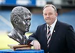 Rangers fans' liason officer Jim Hannah with the remarkable bronze bust of Rangers legend Sandy Jardine