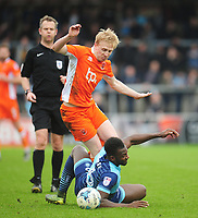 Blackpool's Mark Cullen is fouled by Wycombe Wanderers' Aaron Pierre<br /> <br /> Photographer Kevin Barnes/CameraSport<br /> <br /> The EFL Sky Bet League Two - Wycombe Wanderers v Blackpool - Saturday 11th March 2017 - Adams Park - Wycombe<br /> <br /> World Copyright &copy; 2017 CameraSport. All rights reserved. 43 Linden Ave. Countesthorpe. Leicester. England. LE8 5PG - Tel: +44 (0) 116 277 4147 - admin@camerasport.com - www.camerasport.com