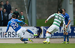 St Johnstone v Celtic...07.05.14    SPFL<br /> Michael O'Halloran is brough down by Beram Kayal for a penalty<br /> Picture by Graeme Hart.<br /> Copyright Perthshire Picture Agency<br /> Tel: 01738 623350  Mobile: 07990 594431