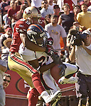 Denver Broncos defensive back Deltha O?Neal (24) intercepts ball intended for San Francisco 49ers wide receiver Tai Streets (89) on Sunday, September 15, 2002, in San Francisco, California. The Broncos defeated the 49ers 24-14. .