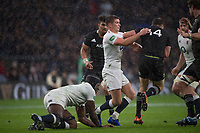 Twickenham, United Kingdom, Saturday, 10th  November 2018, RFU, Rugby, Stadium, England,  Owen FARRELL, hangs onto, Ben SMITH, during the   Quilter, Autumn International, England vs New Zealand, , © Peter Spurrier