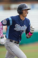 Corpus Christi Hooks shortstop Carlos Correa (1) runs to first base during the Texas League baseball game against the San Antonio Missions on May 10, 2015 at Nelson Wolff Stadium in San Antonio, Texas. The Missions defeated the Hooks 6-5. (Andrew Woolley/Four Seam Images)