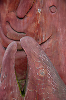 Wood Sculpture Outside Chuck's Seafood Grotto, Snohomish, Washington, US