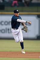 Second baseman Chandler Avant (5) of the Columbia Fireflies plays defense in a game against the Rome Braves on Tuesday, June 4, 2019, at Segra Park in Columbia, South Carolina. Columbia won, 3-2. (Tom Priddy/Four Seam Images)