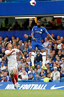 Fikayo Tomori of Chelsea leaps to win a header during the Premier League match between Chelsea and Sheff United at Stamford Bridge, London, England on 31 August 2019. Photo by Carlton Myrie / PRiME Media Images.