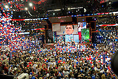 Balloon drop following Mitt Romney's  remarks at the 2012 Republican National Convention in Tampa Bay, Florida on Thursday, August 30, 2012.  .Credit: Ron Sachs / CNP.(RESTRICTION: NO New York or New Jersey Newspapers or newspapers within a 75 mile radius of New York City)