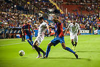 VALENCIA, SPAIN - SEPTEMBER 11: Iborra and Verza during BBVA LEAGUE match between Levante U.D. And Sevilla C.F. at Ciudad de Valencia Stadium on September 11, 2015 in Valencia, Spain