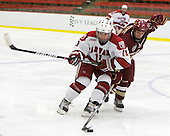 Daniel Moriarty (Harvard - 11), Matt Price (BC - 25) - The Boston College Eagles defeated the Harvard University Crimson 3-2 on Wednesday, December 9, 2009, at Bright Hockey Center in Cambridge, Massachusetts.