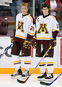 Ryan Stoa (University of Minnesota - Bloomington, MN) and Mike Vannelli (University of Minnesota - St. Paul, MN) line up. The University of Minnesota Golden Gophers defeated the Michigan State University Spartans 5-4 on Friday, November 24, 2006 at Mariucci Arena in Minneapolis, Minnesota, as part of the College Hockey Showcase.