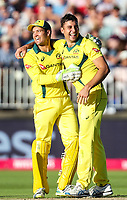 Australia's Marcus Stoinis celebrates with team mate Alex Carey after taking the wicket of England's Alex Hales (not shown)<br /> <br /> Photographer Andrew Kearns/CameraSport<br /> <br /> Only IT20 - Vitality IT20 Series - England v Australia - Wednesday 27th June 2018 - Edgbaston - Birmingham<br /> <br /> World Copyright &copy; 2018 CameraSport. All rights reserved. 43 Linden Ave. Countesthorpe. Leicester. England. LE8 5PG - Tel: +44 (0) 116 277 4147 - admin@camerasport.com - www.camerasport.com