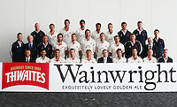 PICTURE BY VAUGHN RIDLEY/SWPIX.COM - Cricket - County Championship - Lancashire County Cricket Club 2012 Media Day - Old Trafford, Manchester, England - 03/04/12 - The Lancashire CCC players, coaches and management gather in The Point for the 2012 photo call.  Thwaites Wainwright sponsor.