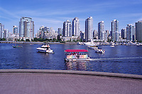 Vancouver, BC, British Columbia, Canada - City Skyline at False Creek and Yaletown, Aquabus Ferry Public Transportation, Summer