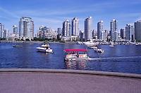 Vancouver, BC, British Columbia, Canada - City Skyline at False Creek and Yaletown, Aquabus Ferry Public Transportation, Summer